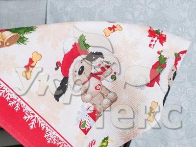 Купить кухонное полотенце  вафельное 5394-1 Новогодние рисунки 100% хлопок 50х70  оптом и в розницу с доставкой по Украине