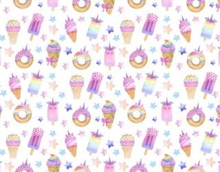 Муслин двухслойный набивной диз: 16412-2 Радужные сладости