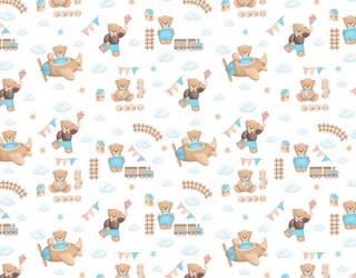 Муслин двухслойный набивной диз: 16414-2 Маленькие мишки