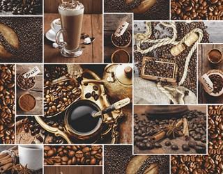 Полотно вафельное набивное диз: 30166-1 Аромат кофе