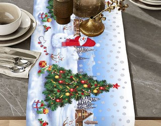 Ткань скатертная столовая диз: 35044-1 Снеговик