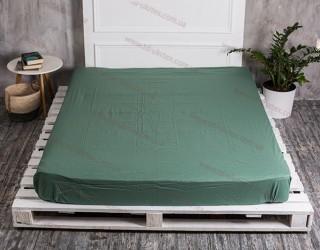 Простынь на резинке бязь г/к 488 Темно-зеленый