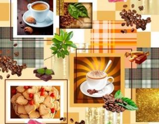 Полотно вафельное набивное диз: 5116-1 Кофе фотопринт