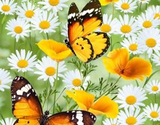 Полотно вафельное набивное диз: 5313-1 Бабочки