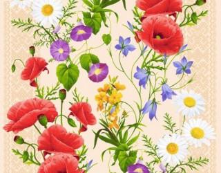 Полотно вафельное набивное диз: 5418-1 Полевые цветы