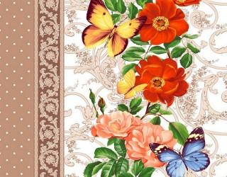 Полотно вафельное набивное диз: 5456-1 Бабочки
