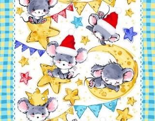 Полотно вафельное набивное диз: 55604-2 Мышкина радость