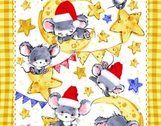 Полотно вафельное набивное диз: 55604-1 Мышкина радость