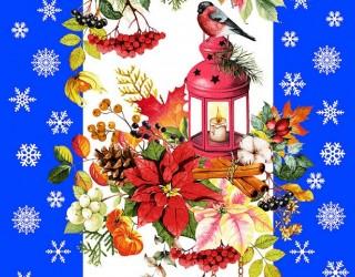Полотно вафельное набивное диз: 5605-2 Новогодняя сказка