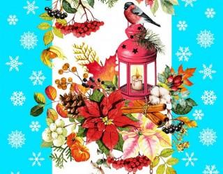 Полотно вафельное набивное диз: 5605-4 Новогодняя сказка