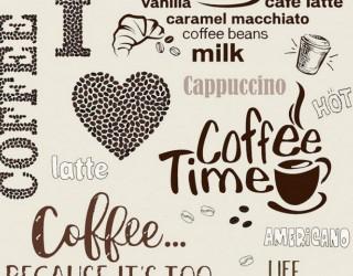 Полотно вафельное набивное диз: 5614-1 Кофейная любовь