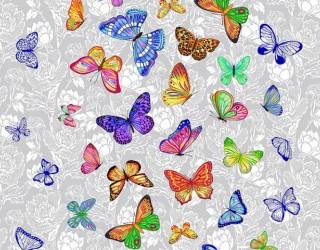 Полотно вафельное набивное диз: 5634-1 Бабочки