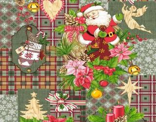 Полотно вафельное набивное диз: 5642-2 Дед Мороз