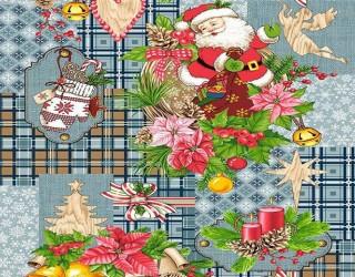 Полотно вафельное набивное диз: 5642-3 Дед Мороз