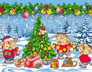 Полотно вафельное набивное диз: 5649-1 Новогодние радости