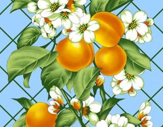 Полотно вафельное набивное диз: 6635-1 Персик