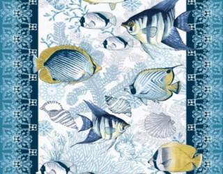 Полотно вафельное набивное диз: 5619-1 Рыбки
