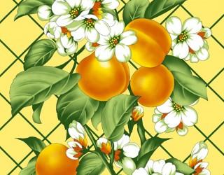 Полотно вафельное набивное диз: 6635-3 Персик