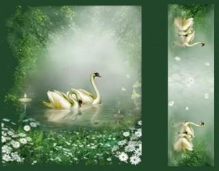 Сатин-панно диз: Swans Lake (A)