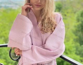 Халат вафельный гладкокрашеный pink